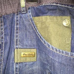 LRG men size 42 belted jeans distressed